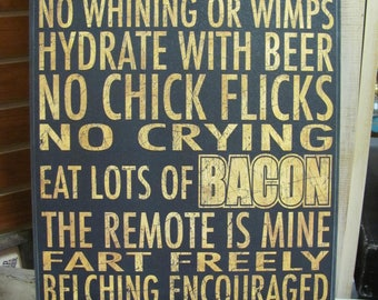 Man Cave Rules,Man Cave,Fathers Day Gift,Gifts for Men,Wooden Art Sign,12x18