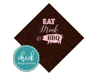 Eat, Drink & BBQ Pig Beverage Napkins Wedding Decor Fun Wedding Party Gifts Wedding Anniversary Party Gifts Custom Beverage 1D298A