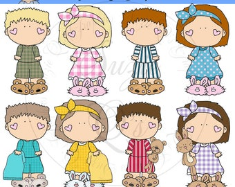 Pajama Kids EXCLUSIVE Clipart Collection - Immediate Download