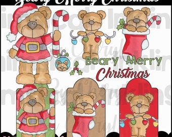 Beary Merry Christmas Clipart Collection- Immediate Download