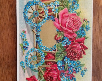 1900's Victorian Floral Embossed Postcard Wagon full of Roses Post Card