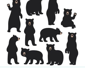 Bears Digital Clipart Clip Art Illustrations - instant download - limited commercial use ok