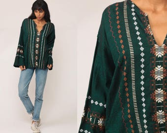 Hippie Shirt Embroidered Top Aztec Mexican Blouse Green Tunic Shirt Tribal Bohemian Vintage Boho Ethnic Guatemalan Medium Large