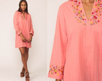 Tunic Dress Embroidered Dress Mini Boho Cotton 70s Pink Floral Mexican Hippie 1970s Bohemian Vintage Long Sleeve Medium