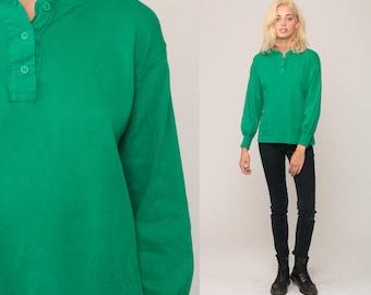 Long Sleeve Shirt POLO Shirt Henley Kelly Green Shirt Plain T Shirt 90s Grunge Tshirt Hipster 80s Retro Tee Vintage Normcore Medium