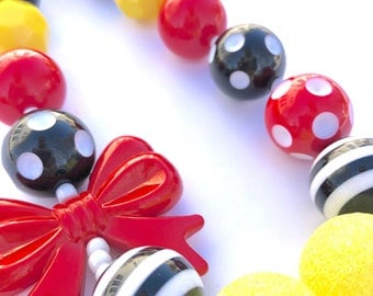 Red bow, yellow and black girls bead necklace. Princess. Minnie inspired. Gift for girls. Bubblegum necklace. Mouse inspired. Glitter jewels
