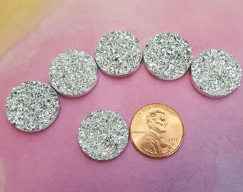 18mm Round Resin Faux Druzy Cabochons Metallic Silver (10)