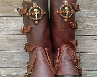 Primitive Oiled Brown Leather Peaked Spats with Brass Raven Skull & Antiqued Distressed Ring with Dees
