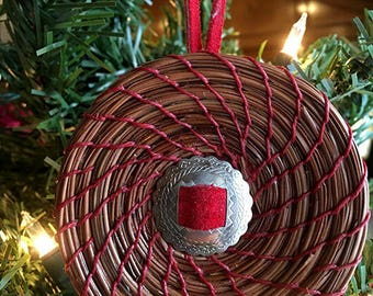 Coiled Red Pine Needle Ornament with Concho