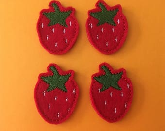 Strawberry Felties Set of 4 Felt Fruit