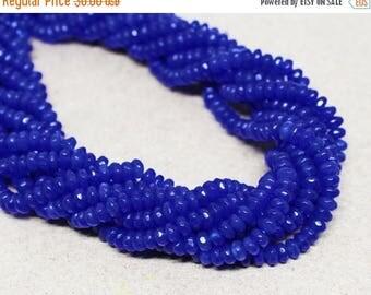 "20% OFF 7.5"" Gemstone STRAND - Jade Beads - 2x4mm Faceted Rondelles - Royal Blue (7.5"" strand, ~80 beads) - str1365"