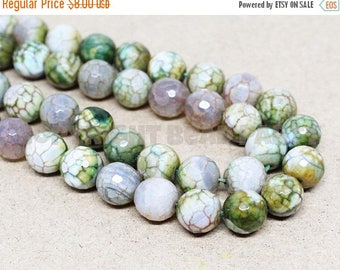"""20% OFF 7"""" Gemstone STRAND - Crackle Agate Beads - 10mm Rounds - Faceted Olive, Cream, and Brown (7"""" strand, ~17 beads) - str1389"""