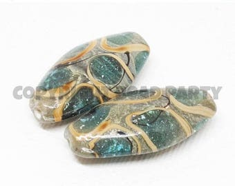 20% OFF LOOSE BEADS - Lampwork Glass Beads - Aqua Blue, Gray, Brown, and Tan Long Ovals  (2 beads) - gla1163