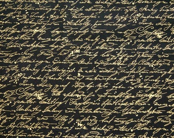 Timeless Treasures Library Collection Script C9508 in Black Gold Metallic Cotton Fabric