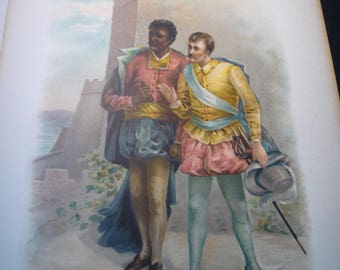 Shakespeare Othello and Iago- Chromolithograph - 1891 - antique Raphael Tuck - gift for actress actor for 11 by 14 frame