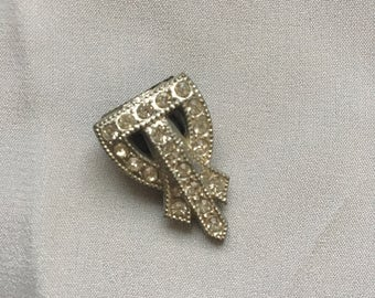 Vintage Art Deco Rhinestone Dress Clip Small
