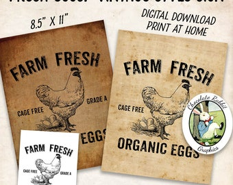 Organic Eggs Sign, Vintage Style Farmhouse, Digital Download, Printable Country Primitive Fabric Transfer Wall Art Image Sheet