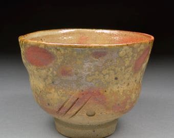 Interesting Handmade Stoneware Yunomi Tea Cup Glazed with Shino, Wood Ash, Copper and Rutile