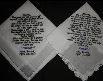 2 Wedding poem handkerchiefs -FREE SHIPPING - 1 with 40-70 words - 1 with 70-125 words