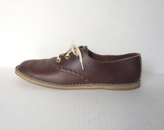 Vintage Womens Brown Leather Saddle Oxfords Size 9.5 Narrow