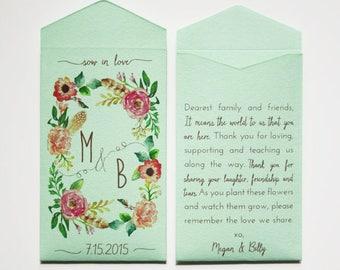 Custom Rustic Wedding Favor Seed Packet Envelopes