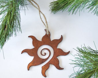 Sun Metal Ornament by WATTO Distinctive Metal Wear/ Christmas Ornament / Christmas Gift / Spiral Sun / Southwest Decor / Housewarming Gift