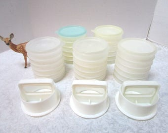 Choice Group Of Vintage Tupperware Hamburger Press And/or Freezer Container  Set Make + Take