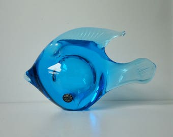 Gorgeous  Swedish Blue Art Glass FISH.  KONST.