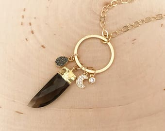 NEW! Smokey Quartz, moon, Druzy Long Gold Charm Necklace! Healing gemstones. Strength and stability.