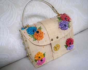 Vintage Bags and Purses Straw Floral Bags by Whidby 1960's