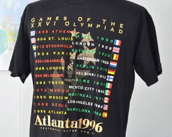 Atlanta Olympics Tshirt 90s 1996 Vintage Tee Atl USA Faded Black LARGE