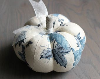 Blue and White Pumpkin Pincushion Pretty Blue and Off White Floral Print