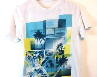 SALE 50% OFF Thrashed Vintage 90s Surf t-shirt White Cotton Faded Aqua Blue Print Distressed Hawaiian Surfer Palm Tree Top Youth Tween Tee W