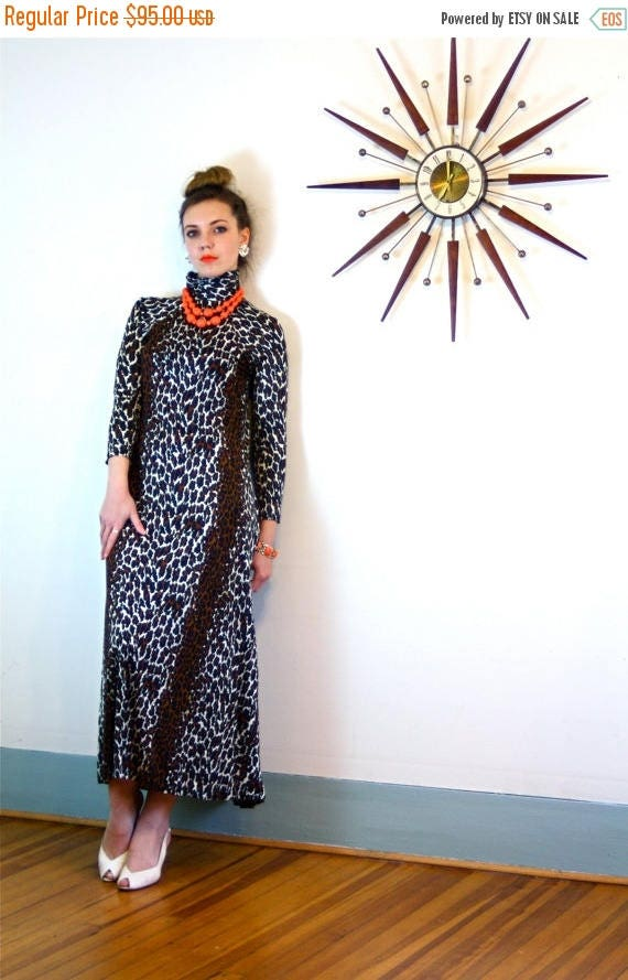 SALE 50% OFF Leopard Print Maxi Dress/ Vintage 70s Loungewear Long Sleeve Turtleneck Cocktail Hostess Mod 1970s MAD Men Ankle Length Animal