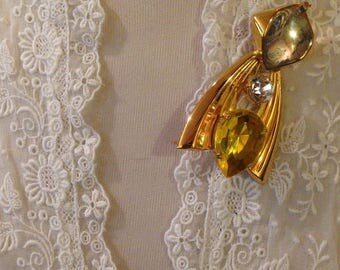gold space age jeweled pin