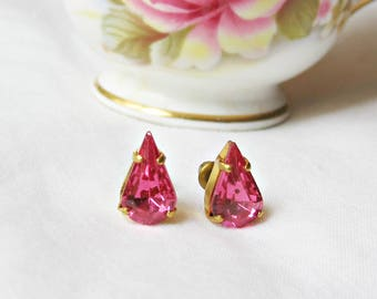 Rose Pink Teadrop Earrings Ear Studs Vintage Fuchsia Glass. Pear Glam It Up. Jewellery Jewelry Cute Small. Miniature Sparkly Bridesmaid