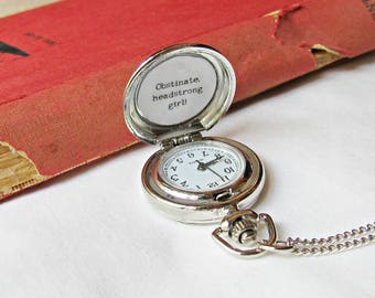Jane Austen Watch Necklace Obstinate Headstrong Girl Pride and Prejudice. Quote Woodland Deer Blue and White. Literature Pocketwatch Pocket