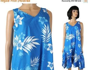 ON SALE Hawaiian Sun Dress S Vintage 80s Sleeveles Cotton Blend Blue White Floral Mumu Free Us Shipping