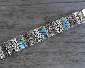 Solid sterling Silver abalone shell cuff bracelet / silver 925 / Balinese jewelry work / 7.50 inch long / (#794m)