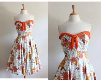 1950s Dress / Vintage White & Orange Floral Strapless Party Dress