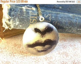 30% OFF Locket Necklace - Victorian Lady Lips Mouth - Surreal Jewellery - Vintage Illustration - Elegant Unusual Necklace