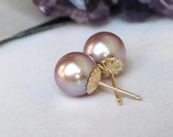 14k Gold Pearl Studs | 9mm Pink Mauve Freshwater Pearls | Yellow Gold Fluted Studs | June Birthstone Gift | Everyday Pearl | Ready to Ship
