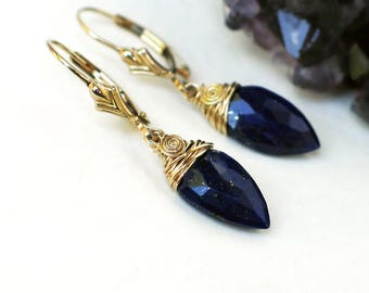 Lapis Lazuli Earrings | Dark Royal Blue Upside Down Teardrop | 14k Gold Fill Fleur de Lis Leverback Dangles | Sapphire Blue | Ready to Ship