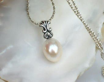 Ivory Pearl Pendant | Almond Drop Freshwater Pearl | Fleur De Lis Sterling Silver Pendant | Everyday Pearl Necklace | Gift |  Ready to Ship
