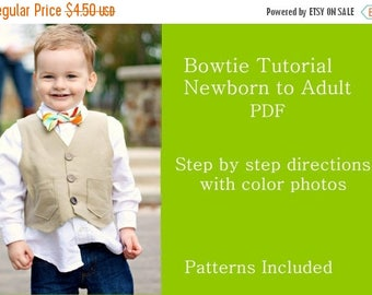 SALE Bowtie PDF Sewing TUTORIAL for Sizes Newborn to Adult