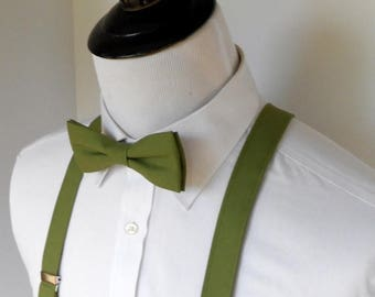 Olive Green Bowtie and Suspenders Set -2 weeks before shipment