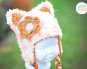 Super Soft Kitty Cat Hat With Flower READY to SHIP for 6-12 Month Size