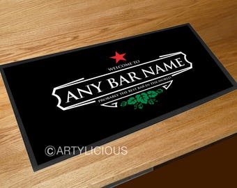 Personalised Bar Runner red star welcome label beers label bar sign runner pubs clubs & cocktail bars **ANY NAME**