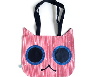 Cat Head Tote Bag - Coral Stripe with Blue Glitter Eyes