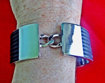 Vintage silver tone cuff bracelet with black accents  in unworn condition, New Old Stock  Clasp closure